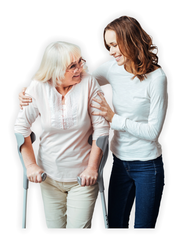 a smiling woman holding an elderly with crutches